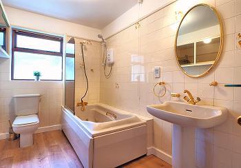Salle de bains principale avec douche sur la baignoire.