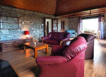 Salon aménagé confortablement offrant une cheminée, TV et DVD.